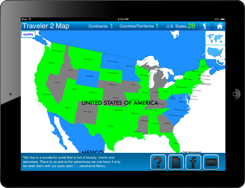 Travel Goal Getter iPad App