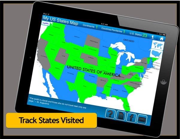 Travel Goal Getter States Visited Map App - Us states traveled map