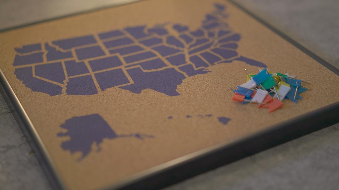 USA Corkboard Map